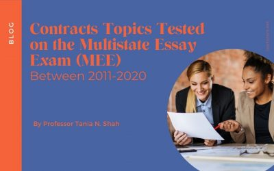 Contracts Topics Tested on the Multistate Essay Exam (MEE) Between 2011-2020
